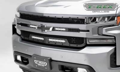 "T-REX Grilles - 2019 Silverado 1500 Stealth Torch Grille, Black, 1 Pc, Replacement, Chrome Studs, Incl. (2) 6"" and (2) 10"" LEDs - PN #6311261-BR - Image 1"