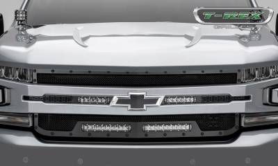 "T-REX Grilles - 2019 Silverado 1500 Stealth Torch Grille, Black, 1 Pc, Replacement, Chrome Studs, Incl. (2) 6"" and (2) 10"" LEDs - PN #6311261-BR - Image 2"