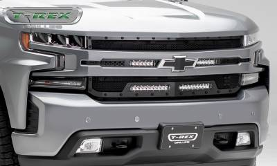 "T-REX Grilles - 2019 Silverado 1500 Stealth Torch Grille, Black, 1 Pc, Replacement, Chrome Studs, Incl. (2) 6"" and (2) 10"" LEDs - PN #6311261-BR - Image 6"
