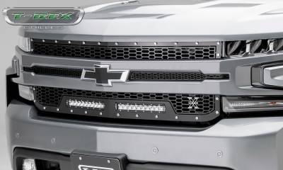 "T-REX Grilles - 2019 Silverado 1500 Laser Torch Grille, Black, 1 Pc, Replacement, Chrome Studs, Incl. (2) 10"" LEDs - PN #7311261 - Image 5"