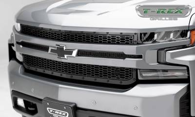 X-Metal Series Grilles - T-REX Grilles - Chevrolet Silverado 1500 2019 Stealth Laser X Grille, Black, Mild Steel, 1 Pc, Replacement - Pt #7711261-BR