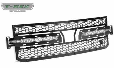 T-REX Grilles - 2019 Silverado 1500 Stealth Laser X Grille, Black, 1 Pc, Replacement, Black Studs - PN #7711261-BR - Image 8
