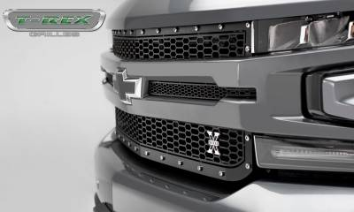 T-REX Grilles - 2019-2020 Silverado 1500 Laser X Grille, Black, 1 Pc, Replacement, Chrome Studs - PN #7711261 - Image 6