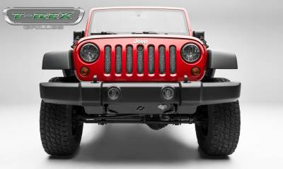 T-REX Grilles - Jeep Wrangler Sport Series Formed Mesh Grille (Installs behind factory grille), Triple Chrome Stainless Steel, With Key Hole
