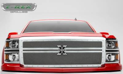 T-REX Grilles - 2014-2015 Silverado 1500 X-Metal Grille, Polished, 1 Pc, Replacement, Chrome Studs, 2 Bars Across - PN #6711180 - Image 3