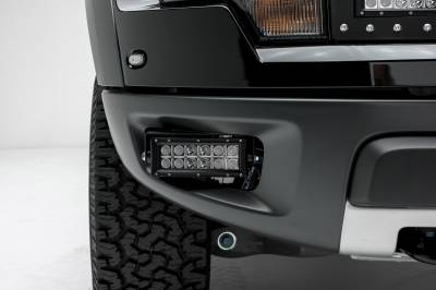 ZROADZ - 2010-2014 Ford F-150 Raptor Front Bumper OEM Fog LED Kit, Incl. (2) 6 Inch LED Straight Double Row Light Bars - PN #Z325651-KIT