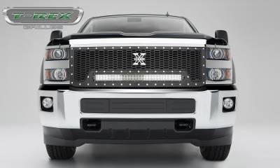 "T-REX Grilles - 2015-2019 Silverado HD Laser Torch Grille, Black, 1 Pc, Replacement, Chrome Studs, Incl. (1) 30"" LED - PN #7311241"