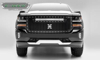 "T-REX Grilles - 2016-2018 Silverado 1500 Laser Torch Grille, Black, 1 Pc, Replacement, Chrome Studs, Incl. (1) 30"" LED - PN #7311281"
