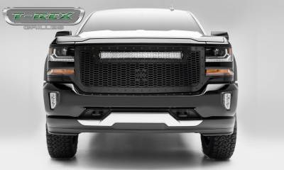 "T-REX Grilles - 2016-2018 Silverado 1500 Stealth Laser Torch Grille, Black, 1 Pc, Replacement, Black Studs, Incl. (1) 30"" LED - PN #7311281-BR"