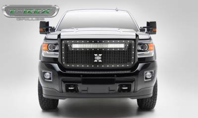 "T-REX Grilles - 2015-2019 Sierra HD Laser Torch Grille, Black, 1 Pc, Insert, Chrome Studs, Incl. (1) 30"" LED - PN #7312111 - Image 1"