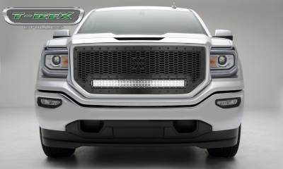 "T-REX Grilles - 2016-2018 Sierra 1500 Stealth Laser Torch Grille, Black, 1 Pc, Insert, Black Studs, Incl. (1) 30"" LED - PN #7312131-BR"