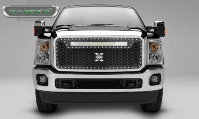 "T-REX Grilles - 2011-2016 Super Duty Laser Torch Grille, Black, 1 Pc, Insert, Chrome Studs, Incl. (1) 30"" LED - PN #7315461"
