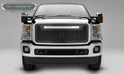 "T-REX Grilles - 2011-2016 Super Duty Stealth Laser Torch Grille, Black, 1 Pc, Insert, Black Studs, Incl. (1) 30"" LED - PN #7315461-BR"