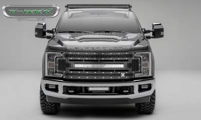 "T-REX Grilles - 2017-2019 Super Duty Laser Torch Grille, Black, 1 Pc, Replacement, Chrome Studs, Incl. (1) 30"" LED - PN #7315471"