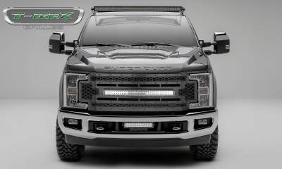 "T-REX Grilles - 2017-2019 Super Duty Stealth Laser Torch Grille, Black, 1 Pc, Replacement, Black Studs, Incl. (1) 30"" LED - PN #7315471-BR"