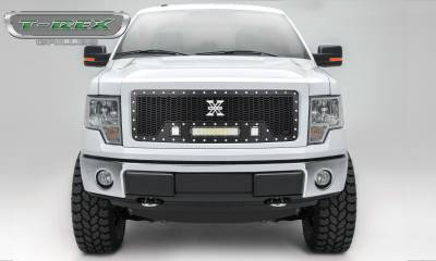 "T-REX Grilles - 2013-2014 F-150 Laser Torch Grille, Black, 1 Pc, Insert, Chrome Studs, Incl. (2) 3"" LED Cubes and (1) 12"" LEDs - PN #7315721"