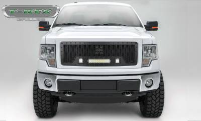 "T-REX Grilles - 2013-2014 F-150 Stealth Laser Torch Grille, Black, 1 Pc, Insert, Black Studs, Incl. (2) 3"" LED Cubes and (1) 12"" LEDs - PN #7315721-BR"