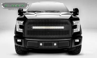 "T-REX Grilles - 2015-2017 F-150 Stealth Laser Torch Grille, Black, 1 Pc, Replacement, Black Studs, Incl. (1) 30"" LED, Fits Vehicles with Camera - PN #7315741-BR"
