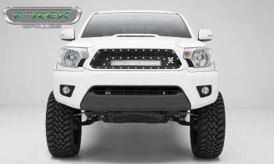 "T-REX Grilles - 2012-2015 Tacoma Laser Torch Grille, Black, 1 Pc, Insert, Chrome Studs, Incl. (1) 20"" LED - PN #7319381"