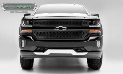 Stealth Series Grilles - T-REX Grilles - 2016-2018 Chevrolet Silverado 1500 Stealth Laser X Grille, Black, Mild Steel, 2 Pc, Overlay -#7711281-BR