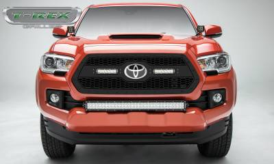 Torch Series Grilles - T-REX Grilles - 2018-2019 Toyota Tacoma Stealth Laser Torch Grille, Black, Mild Steel, 1 Pc, Insert -#7319511-BR