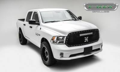 "T-REX Grilles - 2013-2018 Ram 1500 Torch Grille, Black, 1 Pc, Replacement, Chrome Studs, Incl. (1) 20"" LED - PN #6314541 - Image 5"