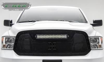 "T-REX Grilles - 2013-2018 Ram 1500 Stealth Torch Grille, Black, 1 Pc, Replacement, Black Studs, Incl. (1) 20"" LED - PN #6314541-BR - Image 2"