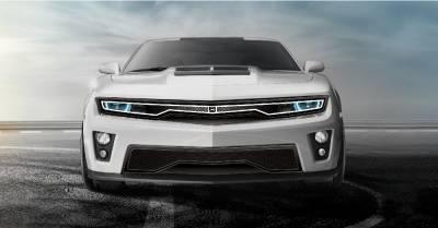 T-REX Grilles - 2012-2015 Chevrolet Camaro Predator Hidden Headlight Lower bumper grille fits Zl1 models (Matte black finish) - PN #DJ3101-75