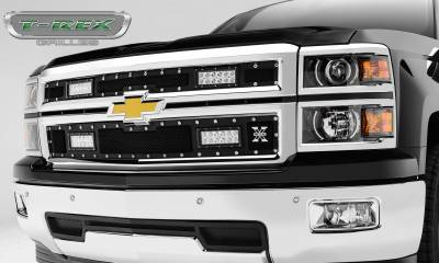 "T-REX Grilles - 2014-2015 Silverado 1500 Torch Grille, Black, 2 Pc, Replacement, Chrome Studs, Incl. (4) 6"" LEDs - PN #6311211"