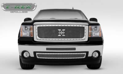 T-REX Grilles - 2007-2010 Sierra HD X-Metal Grille, Polished, 1 Pc, Insert, Chrome Studs - PN #6712060