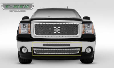 T-REX Grilles - 2007-2010 Sierra HD X-Metal Bumper Grille, Polished, 2 Pc, Insert, Chrome Studs - PN #6722060