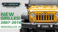 4 New Grilles for 2007 - 2018 Jeep JK from T-REX Grilles