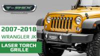 Jeep Wrangler JK - LASER TORCH Series grille with (7) 2 Inch Round LED Lights