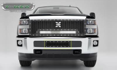 T-REX Grilles - 2015-2019 Silverado 2500, 15-17 3500 Laser X Bumper Grille, Black, 1 Pc, Overlay, Chrome Studs - PN #7721221