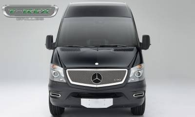 T-REX Grilles - 2014-2015 Mercedes Sprinter Upper Class Grille, Chrome, 1 Pc, Insert, with Logo Cutout - PN #56850 - Image 1