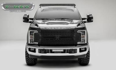 T-REX Grilles - 2017-2019 Super Duty Stealth Laser X Grille, Black, 1 Pc, Replacement, Black Studs - PN #7715471-BR