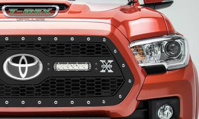 "T-REX Grilles - 2018-2019 Tacoma Laser Torch Grille, Black, 1 Pc, Insert, Chrome Studs, Incl. (2) 6"" LEDs - PN #7319511 - Image 2"