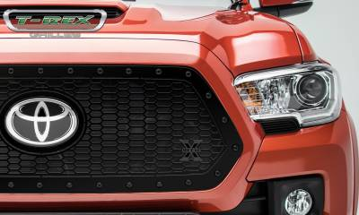 T-REX Grilles - 2018-2021 Tacoma Stealth Laser X Grille, Black, 1 Pc, Insert, Black Studs, Does Not Fit Vehicles with Camera - PN #7719511-BR - Image 2