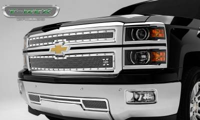 T-REX Grilles - 2014-2015 Silverado 1500 Z71 X-Metal Grille, Polished, 2 Pc, Overlay, Chrome Studs - PN #6711200