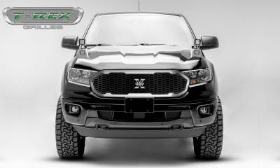 T-REX Grilles - 2019-2020 Ford Ranger Laser X Grille, No Studs, 1 Pc, Replacement with Trim and X-Metal logo - PN #6315823