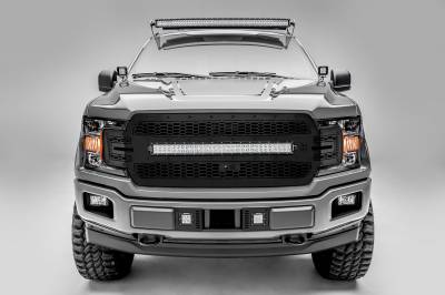 T-REX Grilles - 2018-2020 F-150 Stealth Laser Torch Grille, Black, 1 Pc, Replacement, Black Studs, Incl. 30 Inch LED, Fits Vehicles with Camera - PN #7315751-BR