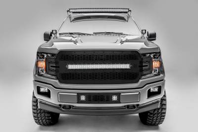 T-REX Grilles - 2018-2020 F-150 Stealth Laser Torch Grille, Black, 1 Pc, Replacement, Black Studs, Incl. 30 Inch LED - PN #7315711-BR