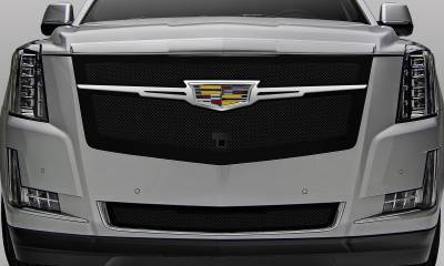 T-REX Grilles - 2015i-2020 Escalade Upper Class Series Main Grille, Black with Chrome Plated Center Trim Piece, 1 Pc, Replacement, Fits Vehicles with Camera - PN #51191 - Image 3
