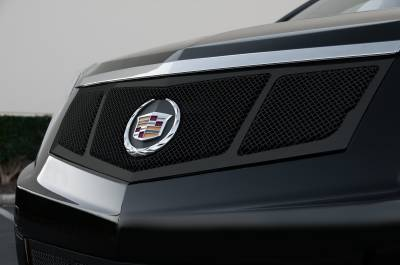 T-REX Grilles - 2010-2016 Cadillac SRX Upper Class Grille, Black, 1 Pc, Replacement, 3 Window Design, with OE Logo Plate - PN #51187 - Image 1