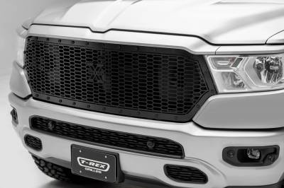 T-REX Grilles - 2019-2021 Ram 1500 Laramie, Lone Star, Big Horn, Tradesman Stealth Laser X Grille, Black, 1 Pc, Replacement, Black Studs, Does Not Fit Vehicles with Camera - PN #7714651-BR - Image 1