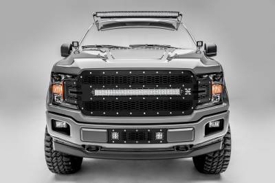 T-REX Grilles - 2018-2020 F-150 Laser Torch Grille, Black, 1 Pc, Replacement, Chrome Studs, Incl. 30 Inch LED - PN #7315711 - Image 1