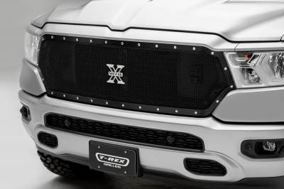 T-REX Grilles - 2019-2021 Ram 1500 Laramie, Lone Star, Big Horn, Tradesman X-Metal Grille, Black, 1 Pc, Replacement, Chrome Studs, Does Not Fit Vehicles with Camera - PN #6714651 - Image 1