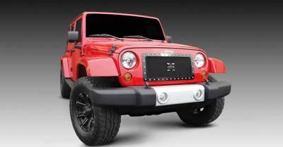 T-REX Grilles - 2007-2018 Jeep JK, JKU X-Metal Grille, Black, 1 Pc, Insert, Chrome Studs - PN #6714831 - Image 1