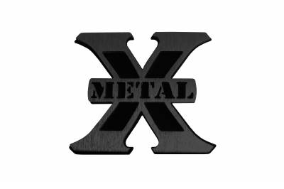 T-REX Grilles - Small Black X-Metal Logo, 2 1/4 Inch Height x 2 2/1 Inch Wide - PN #6710012 - Image 1