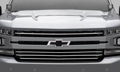 T-REX Grilles - 2019-2021 Silverado 1500 Trail Boss, RST, LT Round Billet Grille, Horizontal Round, Brushed, 4 Pc, Overlay, Does Not Fit Vehicles with Camera - PN #6211233 - Image 2